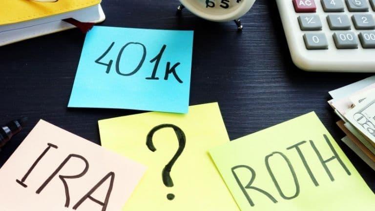 401k ira roth sticky notes