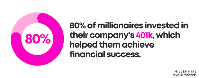 80% of millionaires invested in their company's 401k, which helped them achieve financial success