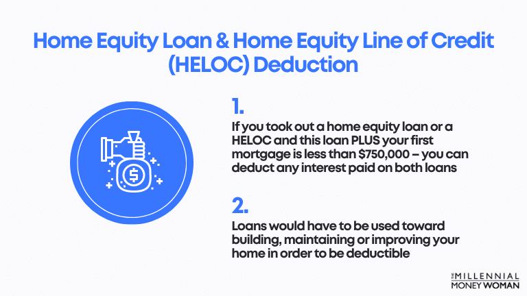 """the millennial money woman blog post """"Home Equity Loan & Home Equity Line of Credit (HELOC) Deduction"""""""