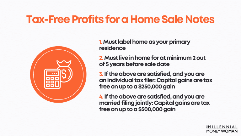 """the millennial money woman blog post """"Tax-Free Profits for a Home Sale Notes"""""""