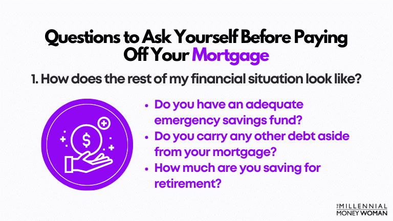 """the millennial money woman blog post """"first question to ask yourself before paying off your mortgage early"""""""