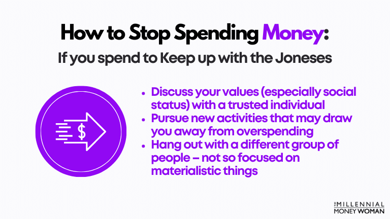 """the millennial money woman blog post """"how to stop spending money if you spend to keep up with the joneses"""""""