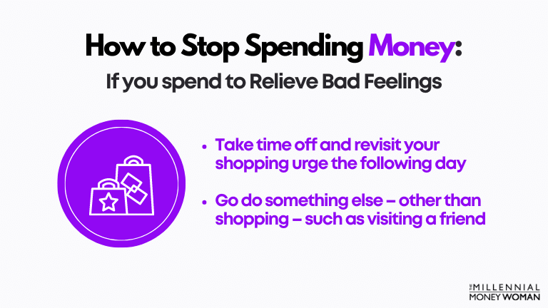 """the millennial money woman blog post """"how to stop spending money if you spend to relieve bad feelings"""""""