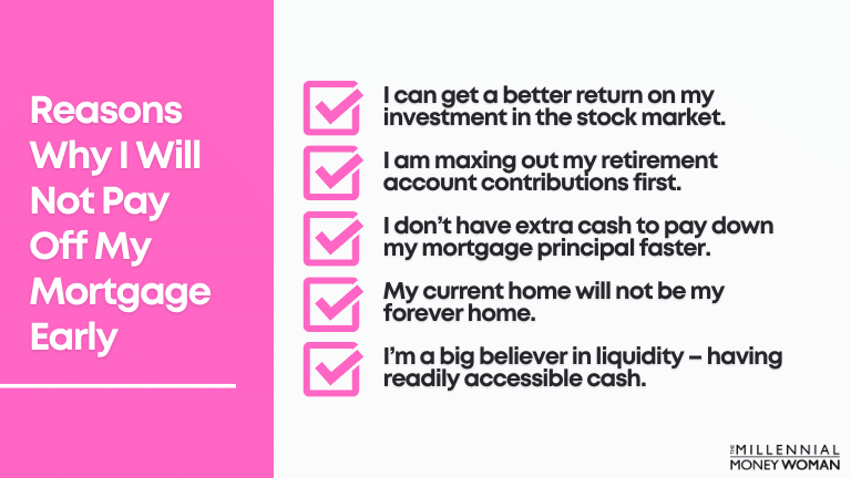"""the millennial money woman blog post """"reasons why i will not pay off my mortgage early"""""""