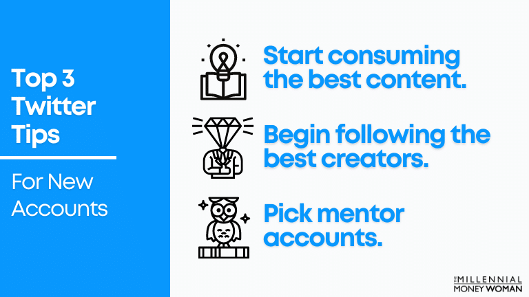"""the millennial money woman blog post """"top 3 twitter tips for new accounts"""""""