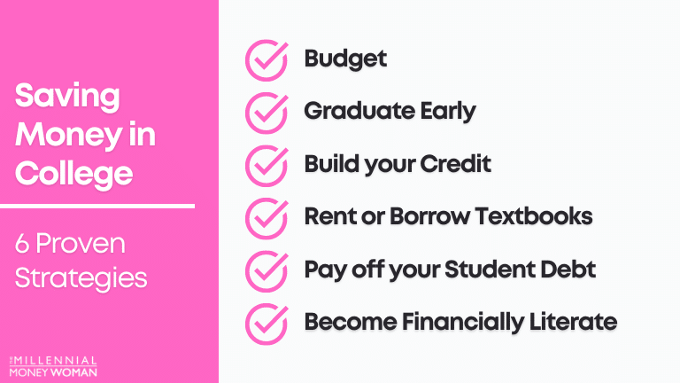 """the millennial money woman blog post """"how to save money in college 6 proven strategies"""""""