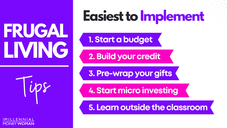 """the millennial money woman blog post """"frugal living tips easiest to implement"""""""