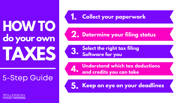 """the millennial money woman blog post """"how to do your taxes 5 step guide"""""""
