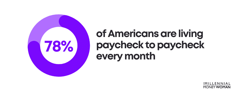"""the millennial money woman blog post """"americans living paycheck to paycheck statistic"""""""