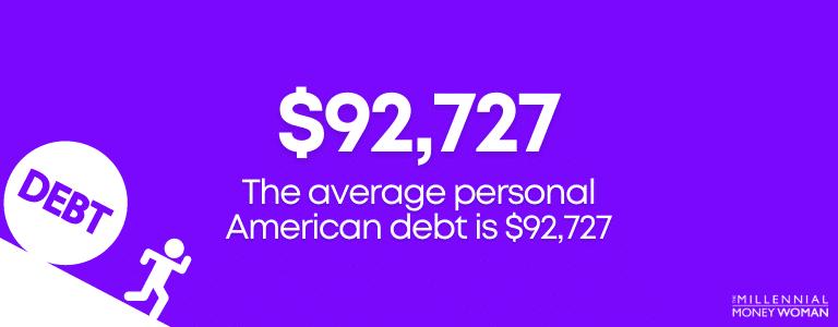"the millennial money woman blog post ""average american debt statistic"""