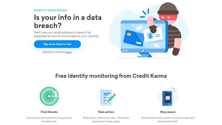 credit karma identity monitoring homepage screenshot