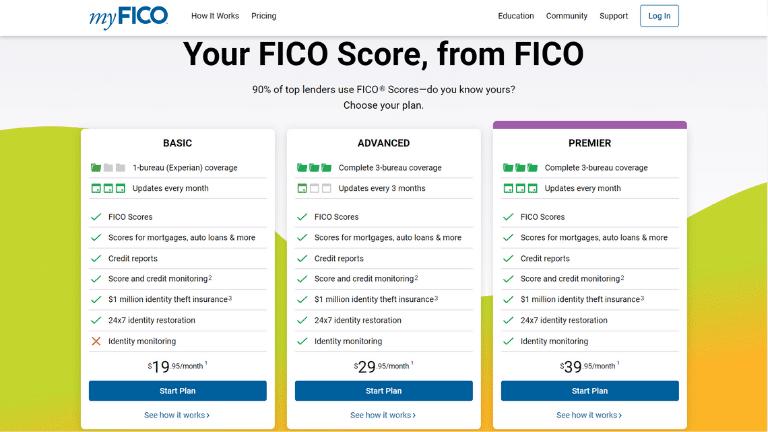 myfico homepage screenshot