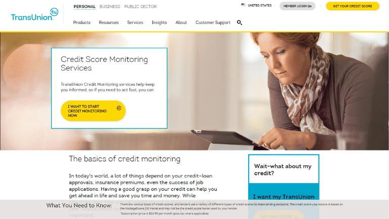 transunion credit monitoring service page screenshot