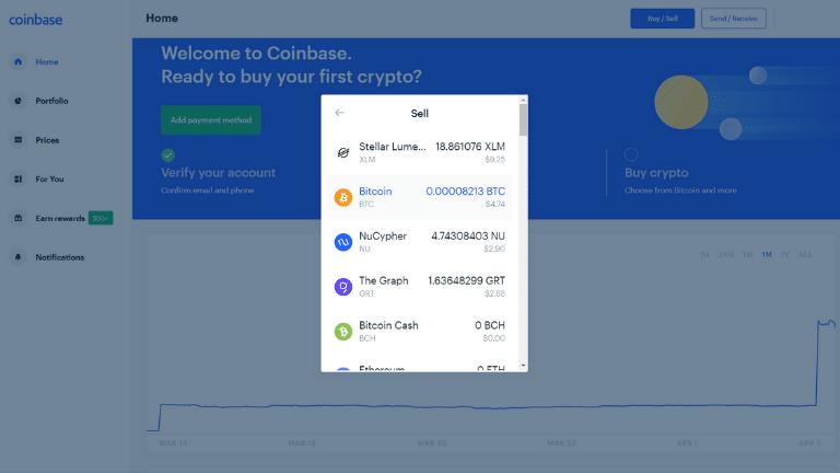 coinbase sell tab 2 screenshot
