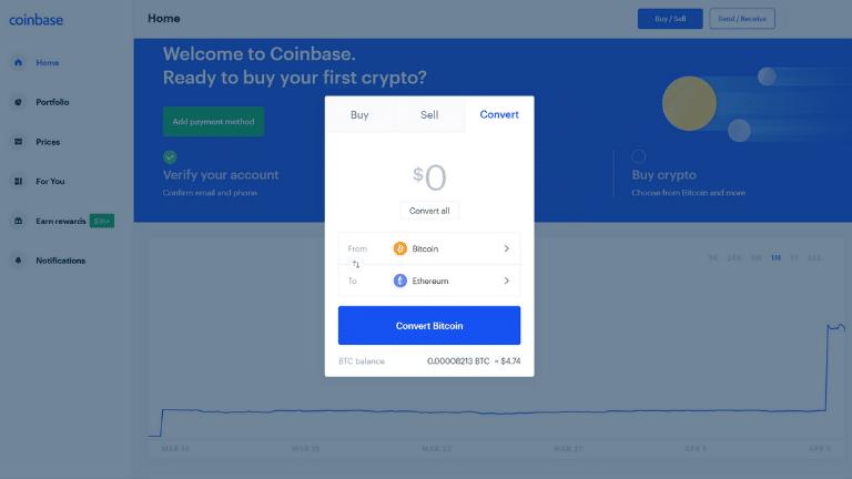 coinbase convert tab screenshot