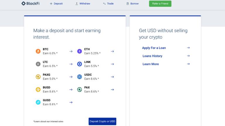 blockfi interest page screenshot