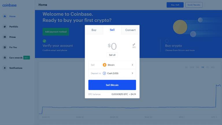coinbase sell tab screenshot
