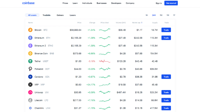 coinbase cryptocurrency prices