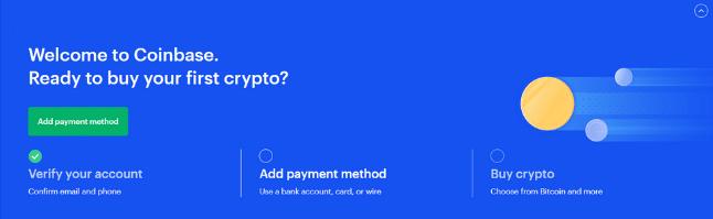 coinbase dashboard 3 step process screenshot