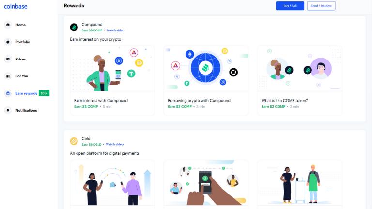 coinbase earn rewards page screenshot