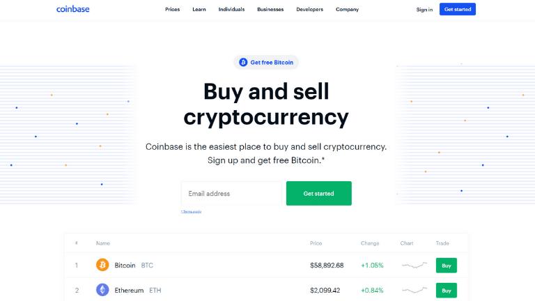 coinbase investing platform website homepage screenshot