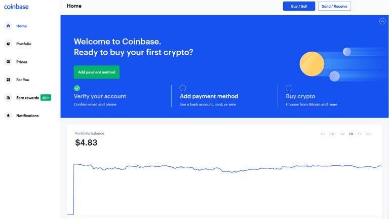 coinbase platform dashboard screenshot with 5 dollar sign up gift