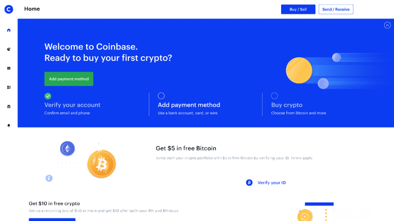 coinbase platform dashboard screenshot