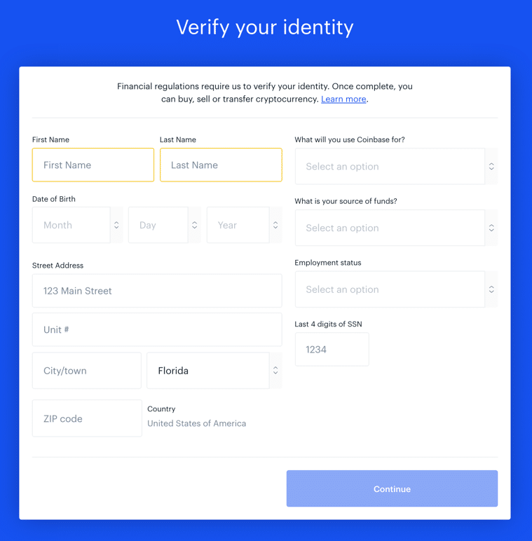 coinbase account creation page 6