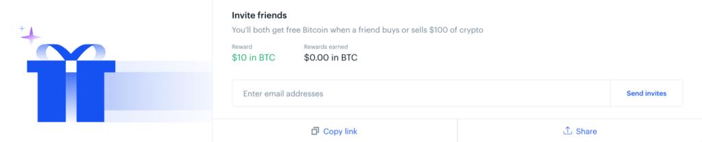 coinbase invite friend page screenshot