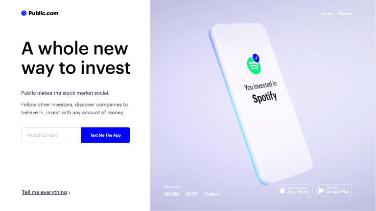 public investing website homepage screenshot