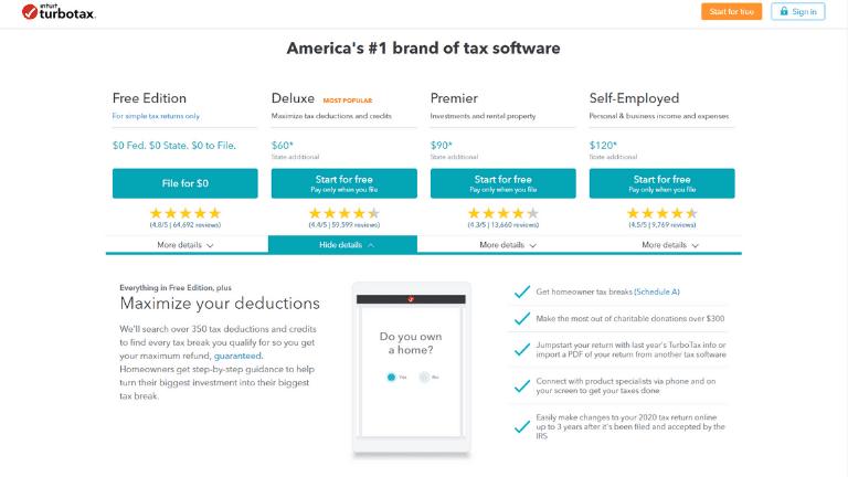 turbotax homepage screenshot