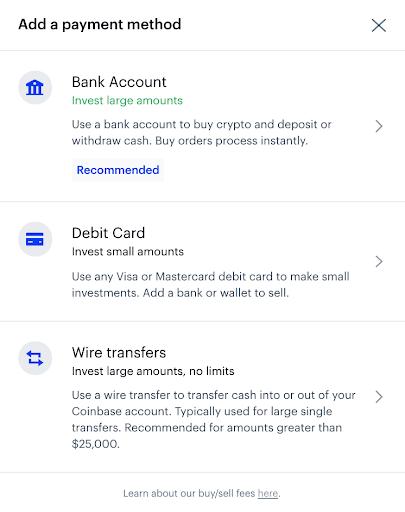 coinbase payment methods screenshot