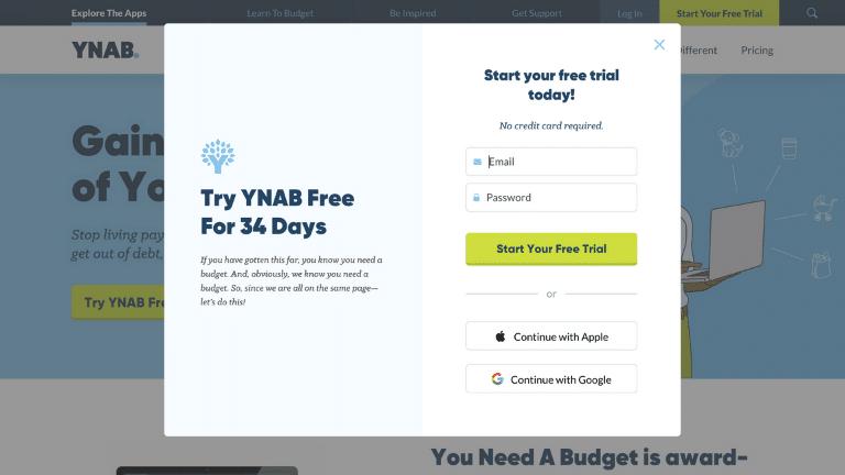 ynab - account set up step 1