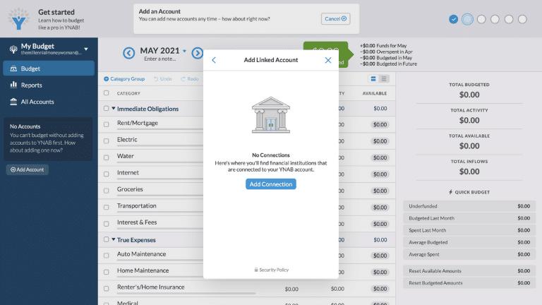 ynab - add an account step 3