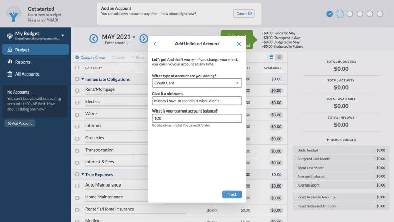 ynab - add an account step 8
