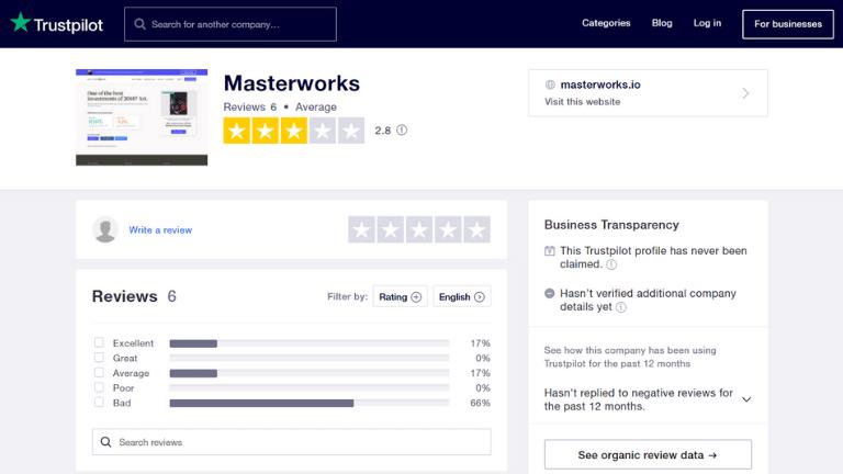 masterworks trustpilot